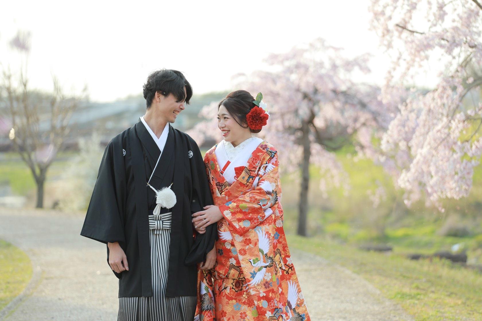桜で和装前撮り ブライダルフォト【可児川】