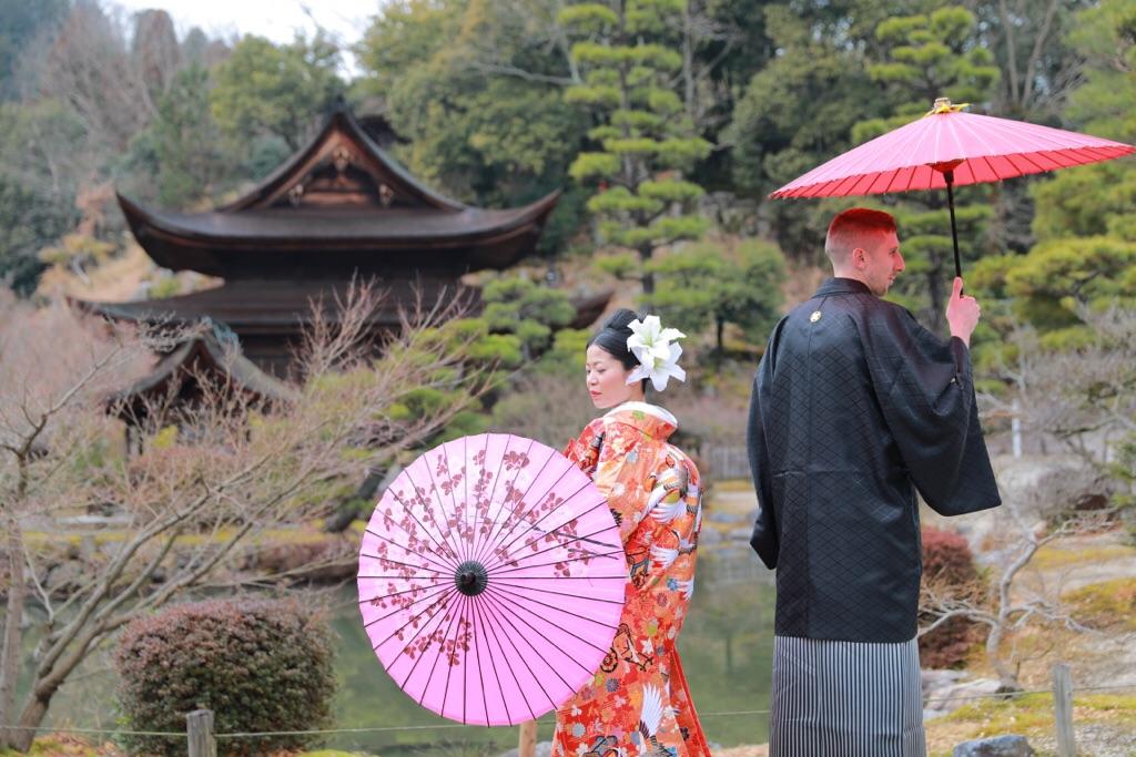 憧れの日本庭園で和装写真♡