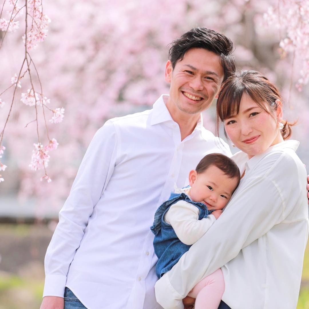 結婚記念日に桜の木の下で家族撮影 【可児】